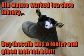 Aih wunce wurked ina shoe faktory,..  Dey thot aih wus a loafer and gibed meh teh boot!