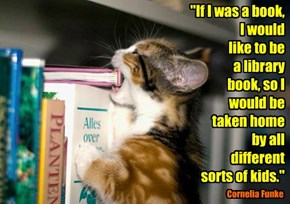 """If I was a book,  I would  like to be  a library  book, so I would be  taken home  by all  different  sorts of kids."""