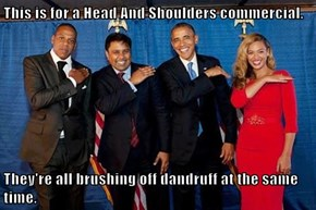 This is for a Head And Shoulders commercial.  They're all brushing off dandruff at the same time.