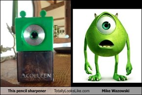 This pencil sharpener Totally Looks Like Mike Wazowski