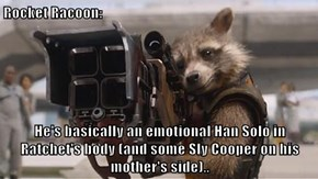 Rocket Racoon:  He's basically an emotional Han Solo in Ratchet's body (and some Sly Cooper on his mother's side)..