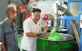Photoshop Battle of the Day: Kim Jong-un at a Lube Factory