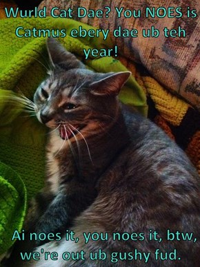 Wurld Cat Dae? You NOES is Catmus ebery dae ub teh year!     Ai noes it, you noes it, btw, we're out ub gushy fud.