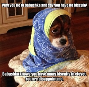Why you lie to babushka and say you have no biscuit?