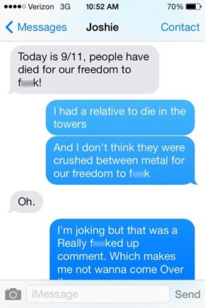 Using 9/11 to Pick Up Girls is Never a Good Idea