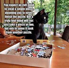 You expect an evil mind to steal a single piece, dooming you to never finish the puzzle. But a truly foul mind will not just take a piece or two, but mix in some it took from another puzzle.