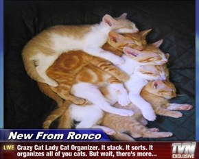New From Ronco - Crazy Cat Lady Cat Organizer. It stack. It sorts. It organizes all of you cats. But wait, there's more...