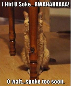 I Hid U Soke...BWAHAHAAAA!  O wait...spoke too soon.