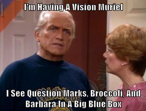 I'm Having A Vision Muriel  I See Question Marks, Broccoli, And Barbara In A Big Blue Box