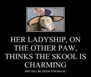 HER LADYSHIP, ON THE OTHER PAW, THINKS THE SKOOL IS CHARMING