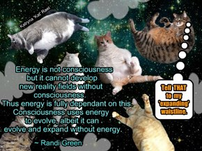 Energy is not consciousness                  but it cannot develop                   new reality fields without                 consciousness.                         Thus energy is fully dependant on this.                 Consciousness uses energy