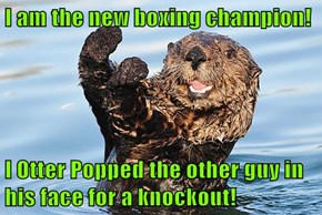 I am the new boxing champion!  I Otter Popped the other guy in his face for a knockout!