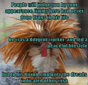 People will judge you by your appearance Jimmy here had never done drugs in his life he was a diligent worker, and led a peaceful lifestyle but to his hiring employer the dreads indicated other wise