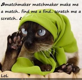 ♫matchmaker matchmaker make me a match.. find me a find.. scratch me a scratch.. ♪  LoL