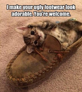 I make your ugly footwear look adorable. You're welcome.