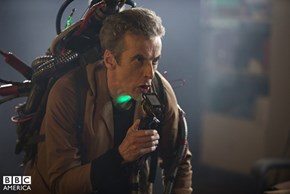 "Capaldi Channels His Inner Ghostbuster in New Image from ""The Caretaker"""