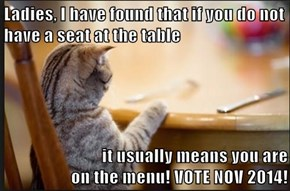 Ladies, I have found that if you do not have a seat at the table  it usually means you are                                                                                         on the menu! VOTE NOV 2014!