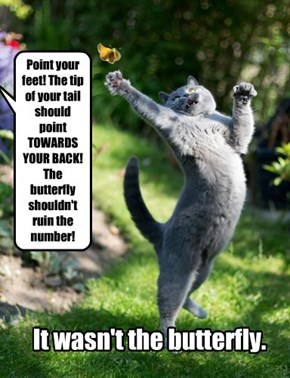 Point your feet! The tip of your tail should point TOWARDS YOUR BACK! The butterfly shouldn't ruin the number!