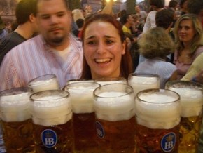 Can't Tell if She's Happy, or Straining to Hold All That Beer