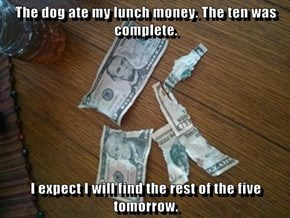 The dog ate my lunch money. The ten was complete.  I expect I will find the rest of the five tomorrow.