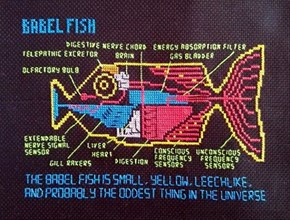 Understand The Languages of the Galaxy With This Babel Fish Cross-Stitch
