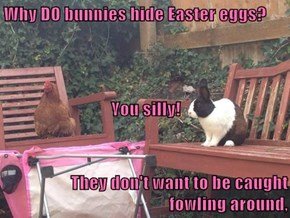Why DO bunnies hide Easter eggs?  You silly! They don't want to be caught                                                    fowling around,