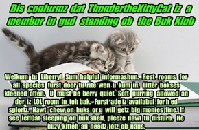 Offishul JeffCatsBookClub Memburship Kard for ThundertheKittyCat