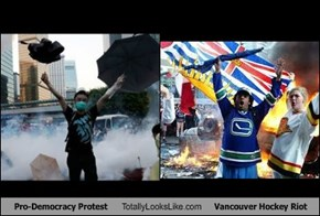 Pro-Democracy Protest Totally Looks Like Vancouver Hockey Riot