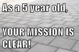 As a 5 year old,  YOUR MISSION IS CLEAR!