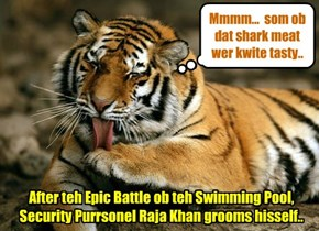 Wiff a job well done an' Kampers saved, Kamp Security Purrsonel Raja Khan relaxes poolside..