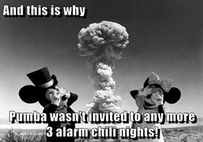 And this is why  Pumba wasn't invited to any more   3 alarm chili nights!
