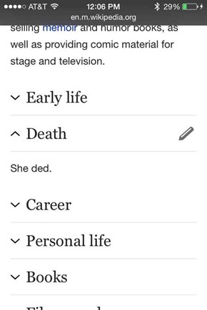 Joan Rivers' Wikipedia Page Has Incredible Insight Into Her Death