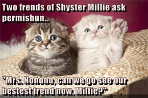 "Two frends of Shyster Millie ask permishun..  ""Mrs. Nonono, can we go see our bestest frend now, Millie?"""