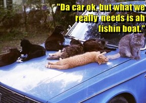 """Da car ok, but what we                                                                      really  needs is ah                                                      fishin boat."""