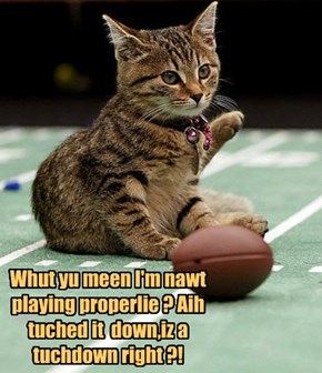 Whut yu meen I'm nawt playing properlie ? Aih tuched it  down,iz a tuchdown right ?!