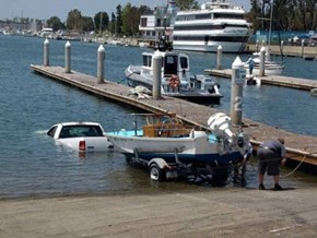 I don't think he fully understood the concept of a boat trailer.