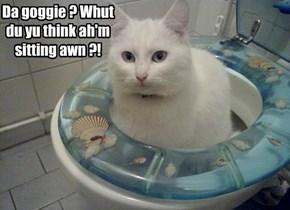 Da goggie ? Whut du yu think ah'm sitting awn ?!