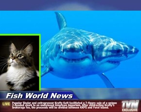 Fish World News - Popular Skolar and entrepreneur Krafty Katt facilitated a 7-figure sale of a unique 2-headed shark to an undislosed American Aquarium. After subtracting Krafty's brokerage fee, the proceeds will be divided between KKPS and Feral Island.