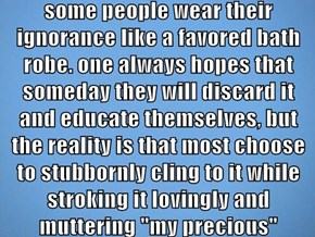 """some people wear their ignorance like a favored bath robe. one always hopes that someday they will discard it and educate themselves, but the reality is that most choose to stubbornly cling to it while stroking it lovingly and muttering """"my precious"""""""