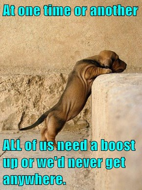 At one time or another  ALL of us need a boost up or we'd never get anywhere.