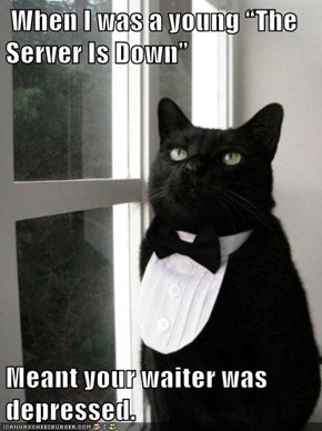 """When I was a young """"The Server Is Down""""  Meant your waiter was depressed."""