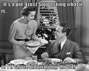 """""""It's a pie, Ernst.Stop asking what it is...  or I'll shove it down your throat!"""""""
