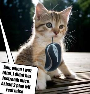 Son, when I wuz littul, I didnt haz lectronik mice.  Ai had 2 play wif real mice