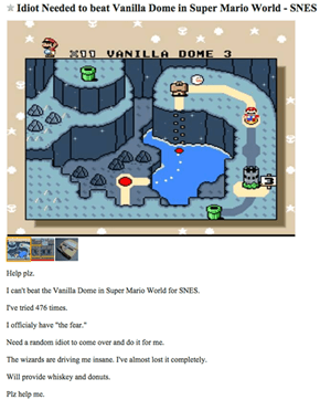 This Craigslist Poster in Los Angeles Really Needs a Bud to Help Him Pass Vanilla Dome in Super Mario World