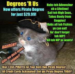 For all doze kitties who wants to be a Bwave Asplorer Kittie, Degrees 'R Us offers teh bery popular Pirate Degree!