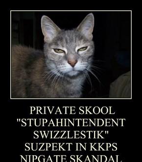 "PRIVATE SKOOL ""STUPAHINTENDENT SWIZZLESTIK"" SUZPEKT IN KKPS NIPGATE SKANDAL"