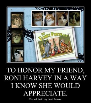 TO HONOR MY FRIEND, RONI HARVEY IN A WAY I KNOW SHE WOULD APPRECIATE.