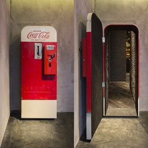 The Flask and the Press in Shanghai Has a Speakeasy Style Entrance Hidden in a Old Coke Machine.