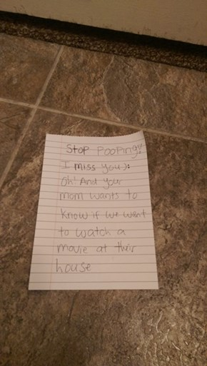 When Your Wife Passes You Notes Under the Door