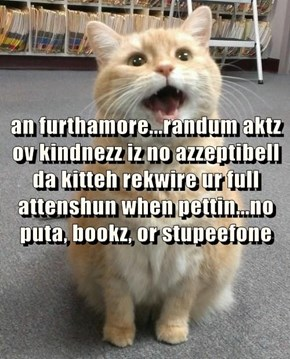 an furthamore...randum aktz ov kindnezz iz no azzeptibell da kitteh rekwire ur full attenshun when pettin...no puta, bookz, or stupeefone